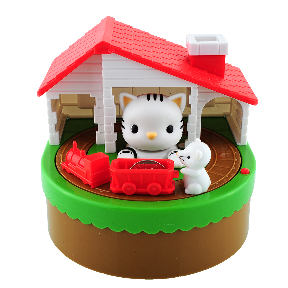 2017 itazura automated stealing coin cat mouse kitty penny piggy bank saving box money box storage kid present in money boxes from home garden on