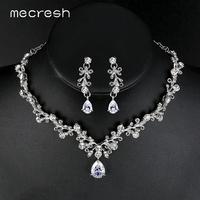 Mecresh Luxury Cubic Zirconia Bridal Jewelry Sets Leaf Shape Crystal Rhinestone Female Party Jewelry Necklace Sets