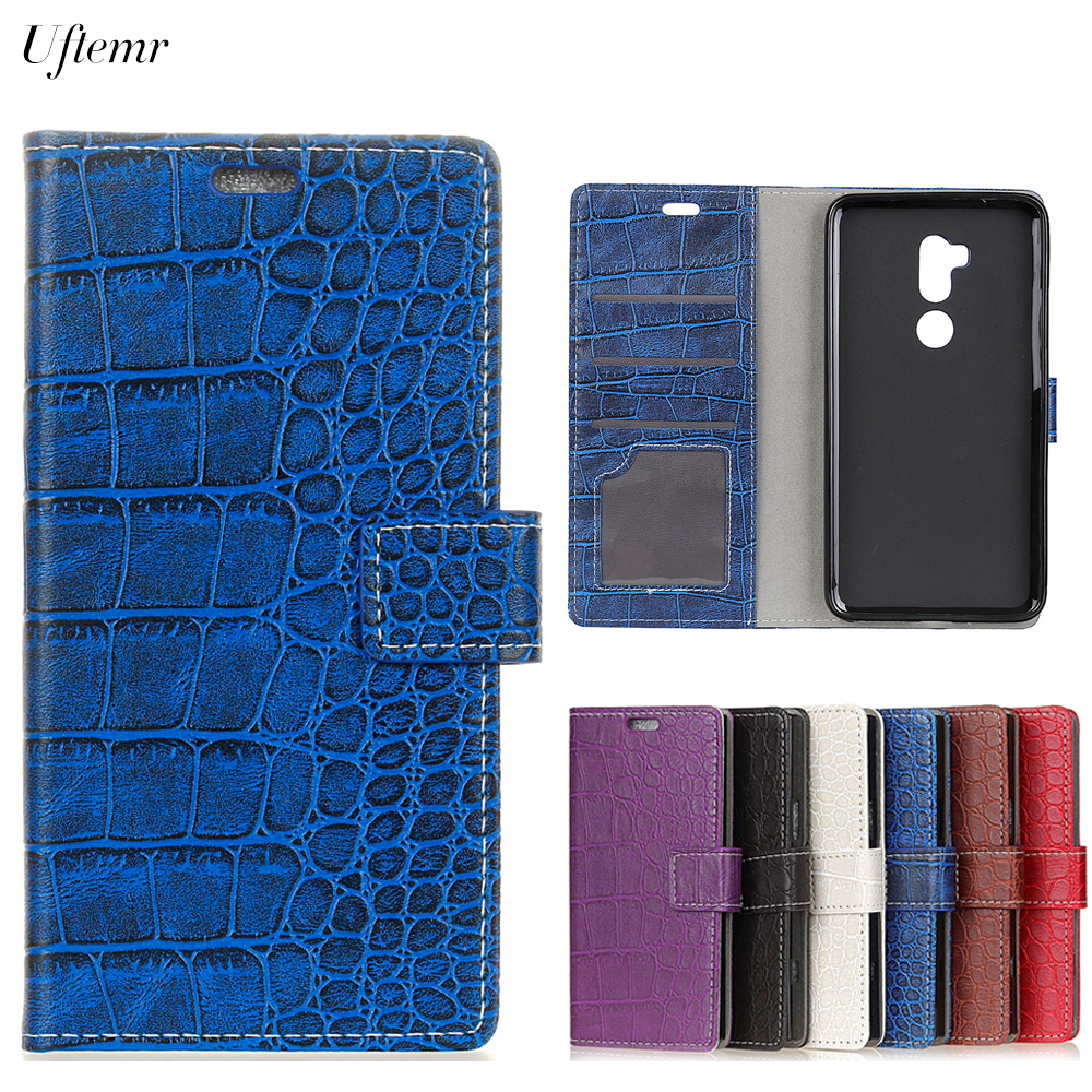 Uftemr Vintage Crocodile PU Leather Cover For Alcatel A7 XL Protective Silicone Case Wallet Card Slot Phone Acessories