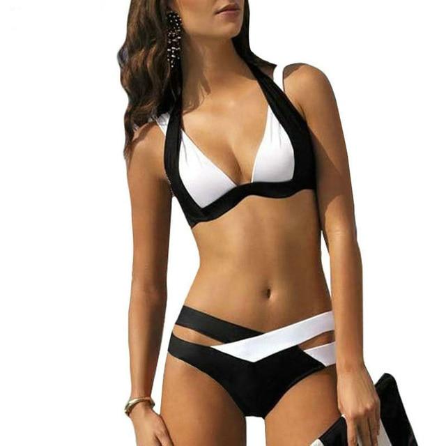 f8e16c3e76f9 € 9.08 20% de DESCUENTO|Nuevo traje de baño talla grande 3XL Bikini Sexy  para mujer traje de baño talla grande Patchwork Biquini traje de baño  Vintage ...