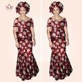 2017 African Print Dashiki Skirt Sets For Women Eleglant Shirt and Mermaid Skirts Africa Ladys Sets WY783