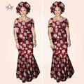 2017 Sistemas De La Falda de Las Mujeres Eleglant Impresión Africano Dashiki Camisa y Falda Sirena África Ladys Establece WY783