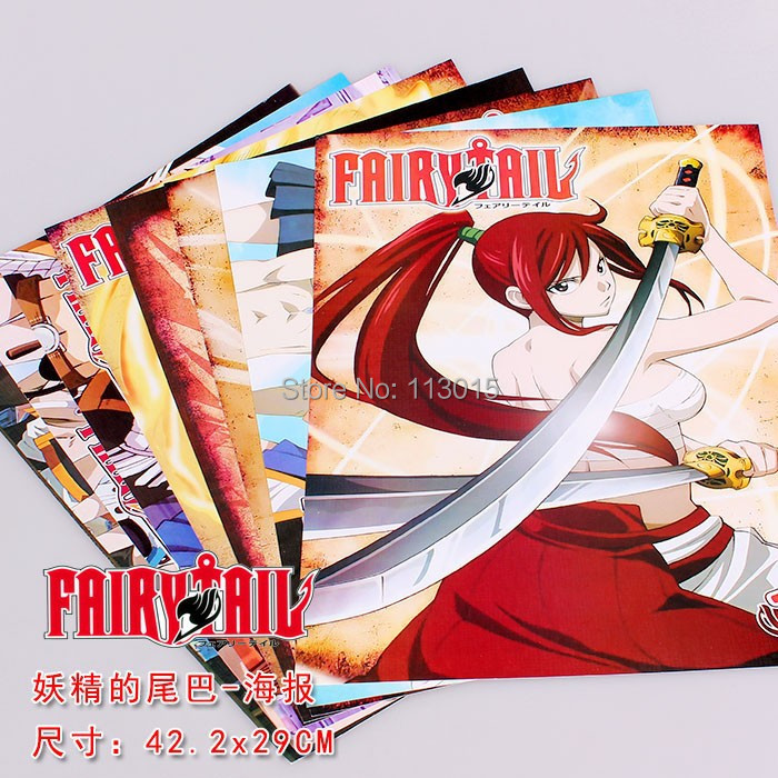 8pcs/lot Fairy Tail Posters Anime Paintings wall pictures 2 sizes 58x42CM  High quality Embossed стикеры для стен fairy tail 8 42x29cm