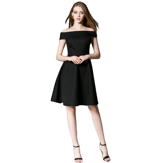 b1a9c2a1a0a Nouveau dames haute classe Slash cou épaule dénudée petite robe noire Mini  une ligne robe Vestidos