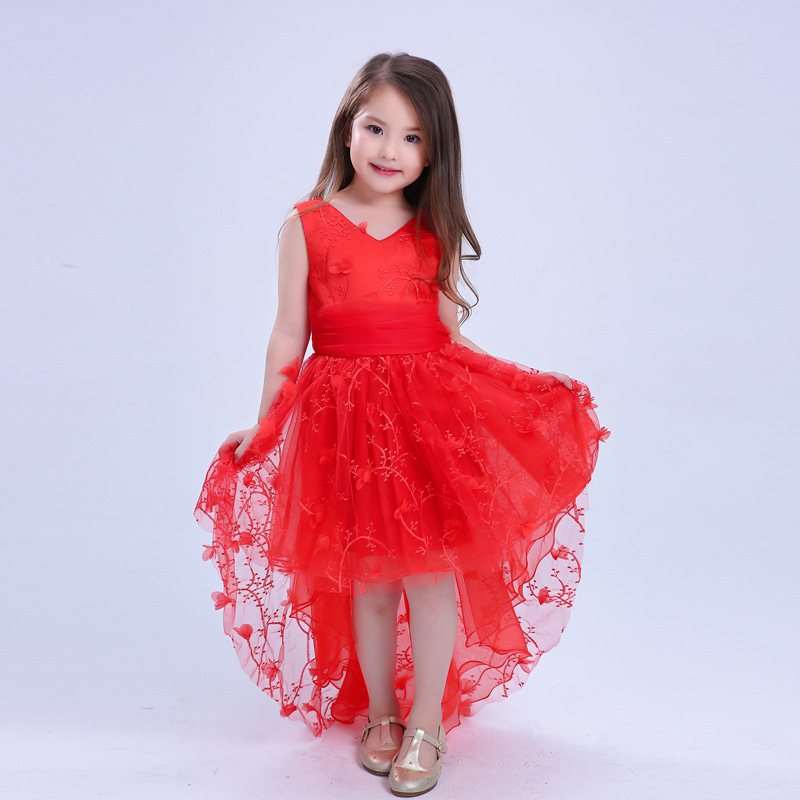Kids dresses for girls clothes red wedding dress sleeveless fashion V-neck new party princess dress Trumpet 2-10y baby dresses