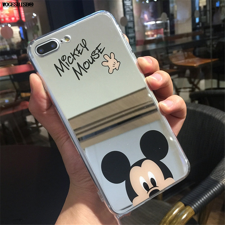 Cartoon Minnie Mickey Mouse Mirror Phone Cases for iPhone 6 6s Plus SE 5S Silicone Soft Back Cover for iPhone 7 8 Plus X Case