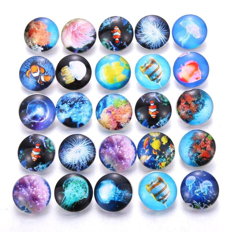 10 шт./лот, смешанные цвета и узор, 18 мм, стеклянные кнопки, ювелирное изделие, граненое стекло, оснастка, подходят, оснастки, серьги, браслет, ювелирное изделие - Окраска металла: AB225