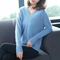 Hot Sale Winter New Women Sweater Vneck 100% Pure Cashmere Knitwear Ladies Soft Fashion Thick Clothes 5Colors Girls Jumper Tops