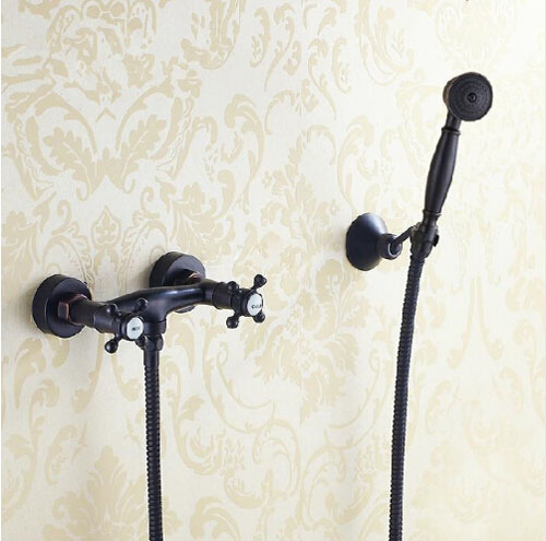 Oil Rubbed Bronze Bathtub Faucet Double Handles W/Hand Sprayer Wall Mount Mixer Faucet