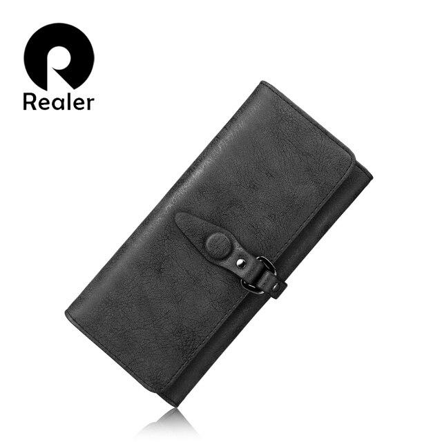 REALER бренд новый дизайн женский кошелек, длинный дамский кошелек из искусственной кожи с отделением для карт