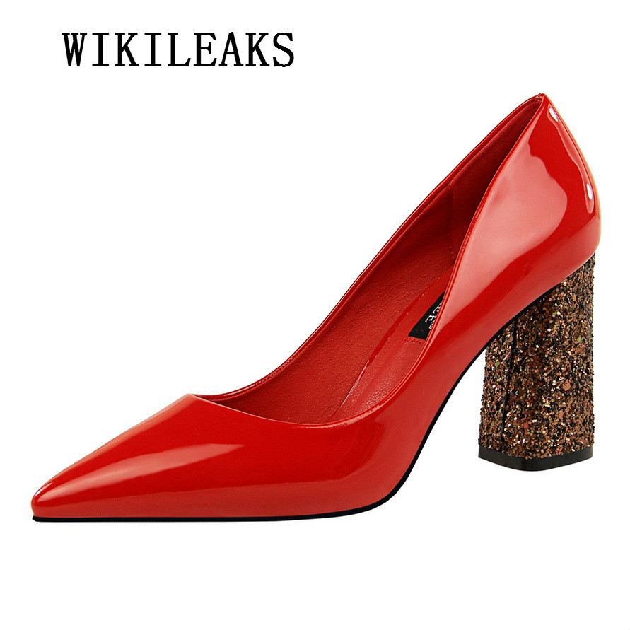 extreme high heels shoes woman patent leather sequins square heel bigtree shoes OL sexy pumps bridal wedding women shoes saltos luxury brand crystal patent leather sandals women high heels thick heel women shoes with heels wedding shoes ladies silver pumps