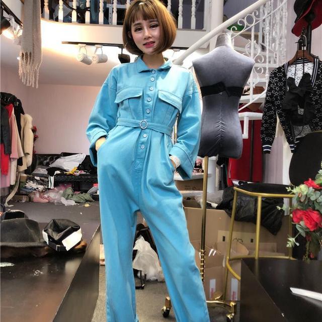 a7e77114ddb6 Autumn Womens light blue denim jumpsuits Female Streetwear dancing One  Piece Coveralls Punk Hip Hop jeans Overalls A72805