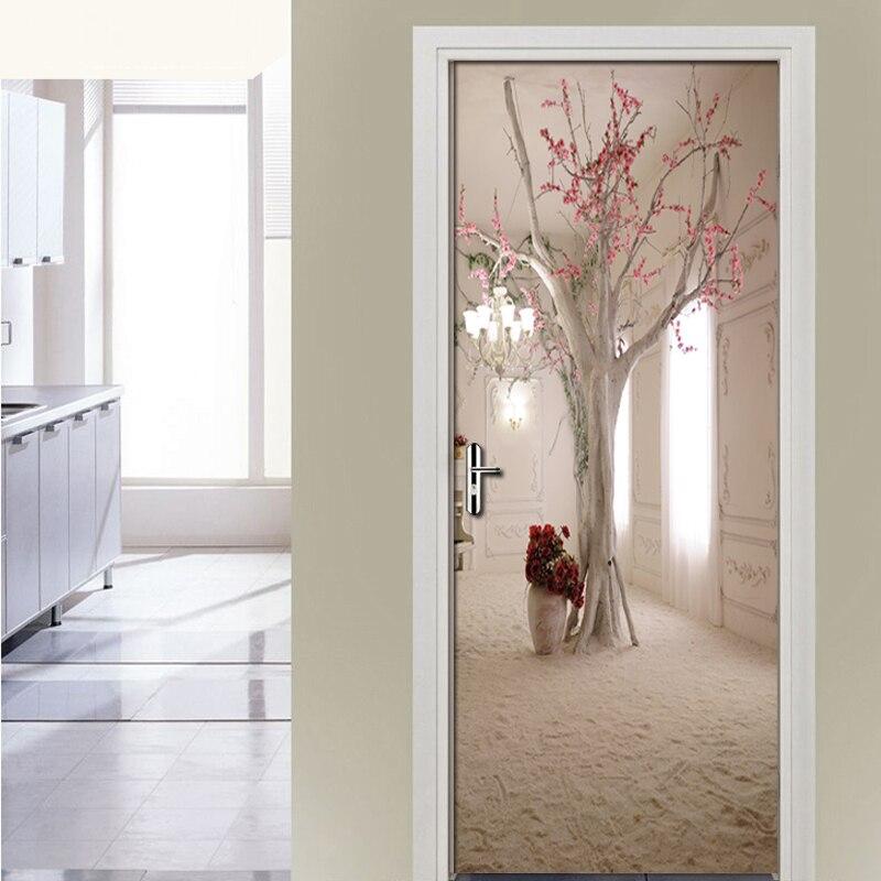3D Space Floral Tree Mural Wall Roll Living Room Bedroom Door Sticker Mural Door Decoration Wallpaper Self Adhesive Wallpaper 3D