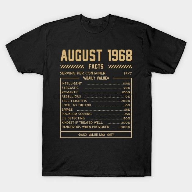Men Short Sleeve Tshirt Fact August 1968   Funny   T Shirt Women T-shirt