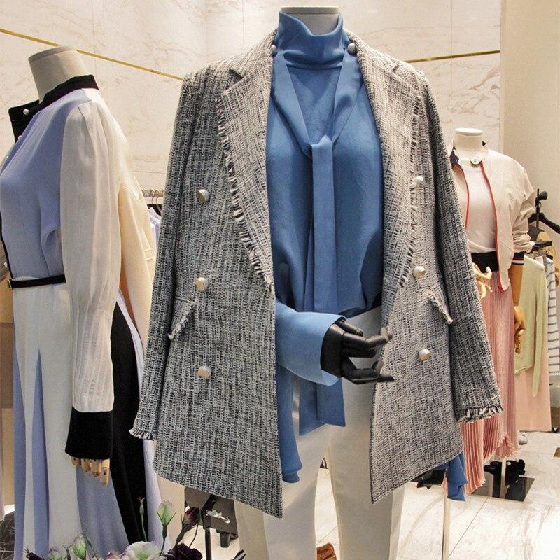 Luxe Chevrons De Colorés Britannique Tweed Piste Blazers Mode Designer Boutons 2018 Main Noir Vintage tqzSwIBw