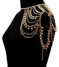 New Style Women Fashion Gold color Chains Jewelry Small Bells Single Shoulder Chains Body Jewelry 2 colors