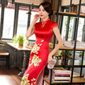 Chinese Traditional Red Big Flower Cheongsam Dress Long Chinese Party And Reception Dress