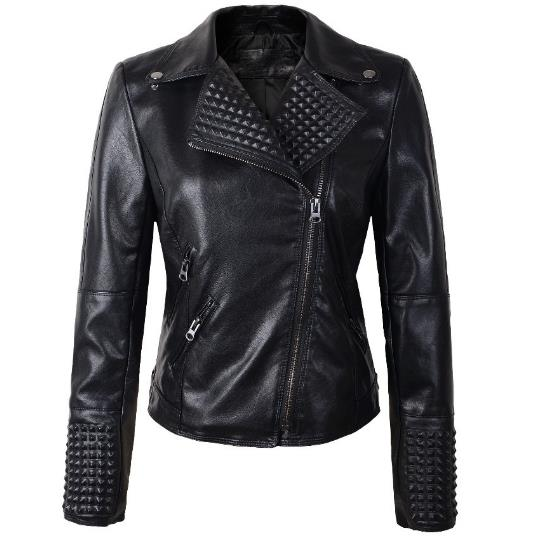 2018 fashion Faux LeatherJacket Women rivet Moto Biker Zip Coats chaqueta PU Jack jaqueta couro Rock ...