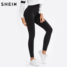 SHEIN Perforated Side Leggings Black Casual Fitness Leggings High Waist Activewear for Women Workout Clothes for Women(China)