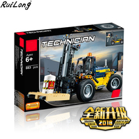 New 2 in 1 Technic Series Forklift Truck Compatible Legoing Technic Car Set Building Blocks Bricks Toys Christmas Gifts
