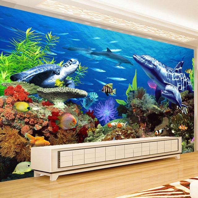 Papier Mural personnalisé stéréo 3D   Peinture murale, requin sous-marine, dauphin docéan, décor pour chambre denfant salon
