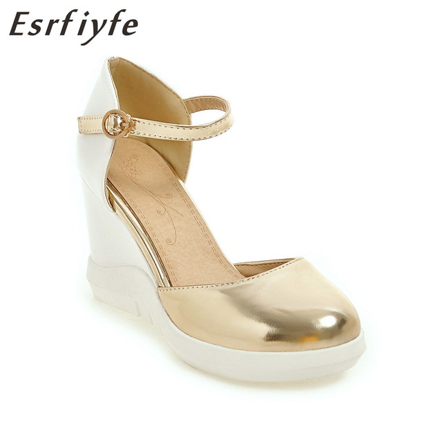 77f1714720c5 ESRFIYFE 2018 New Women Sandals High Heels Wedge Platform Women Shoes Gold  Silver Peep Toe PU Leather Ladies Casuals Shoes