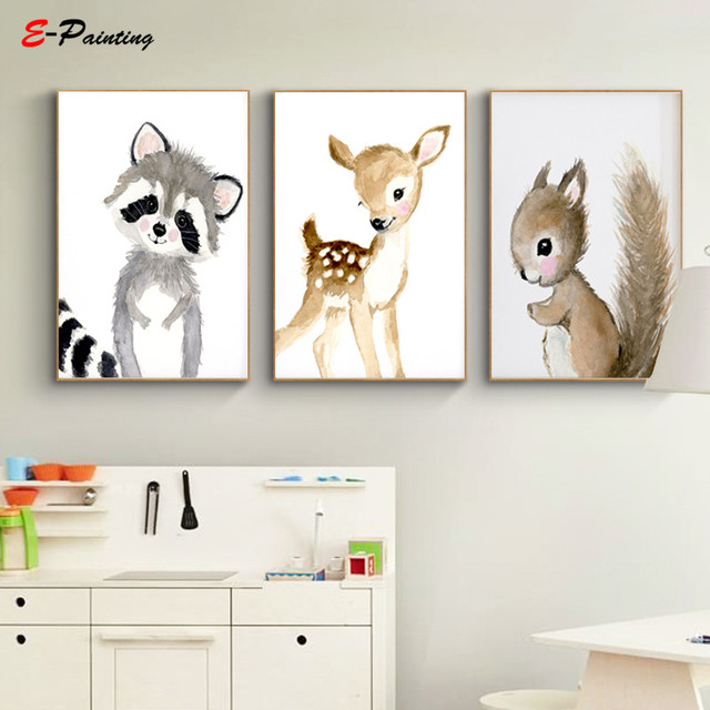Nordic Canvas Painting Neutral Nursery Woodland Print Kids Bedroom Decoration Poster Squirrel Rabbit Deer Wall Art Decor