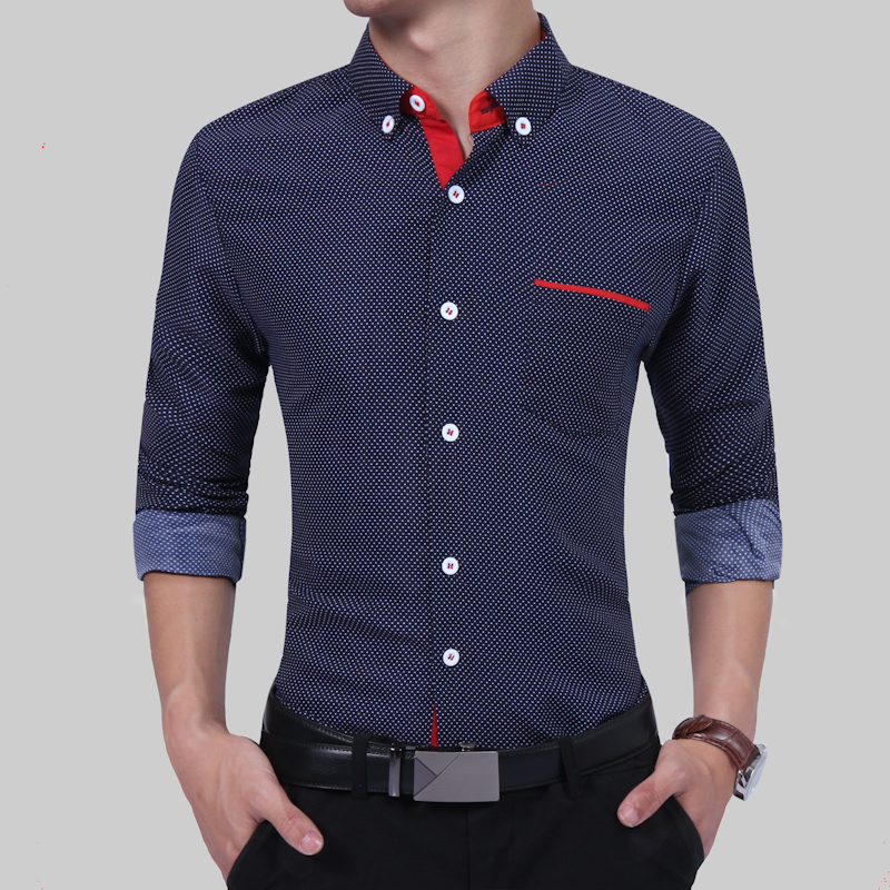 2017 Fashion Brand Male Shirt Long-Sleeves High Quality Cotton Oversize Mens Dress Shirts Slim Men Shirt 4XL