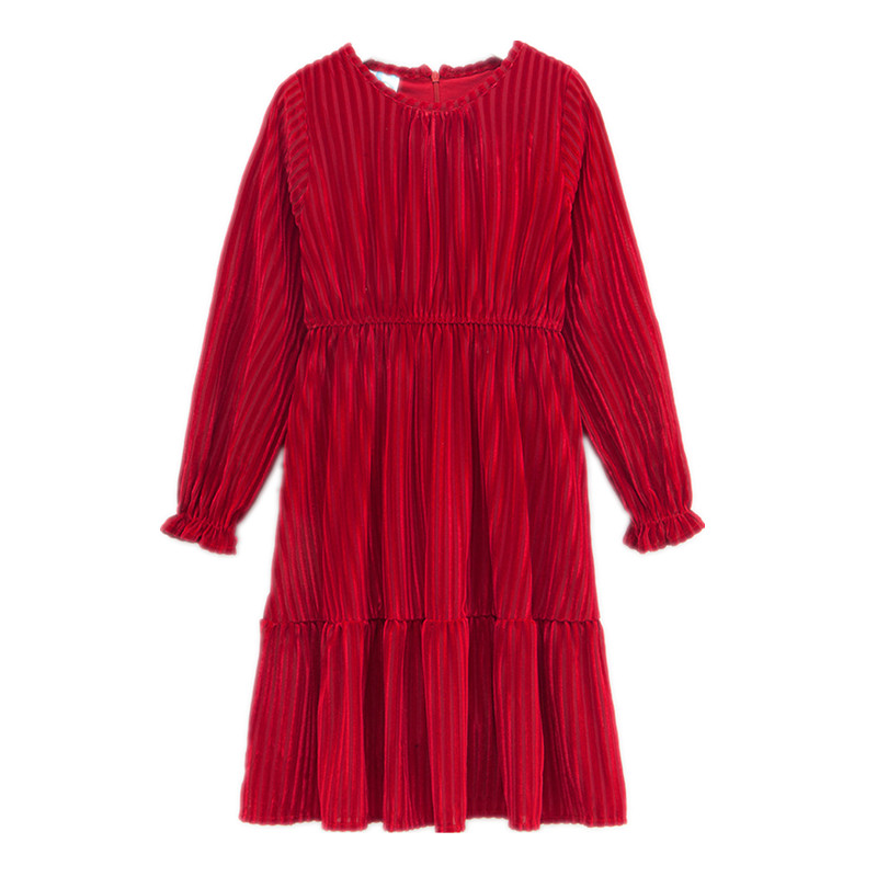 4 to 14 years kids & teenager girls solid red pink velour long sleeve flare dress children fashion velvet fall winter dresses long sleeve flare choker dress