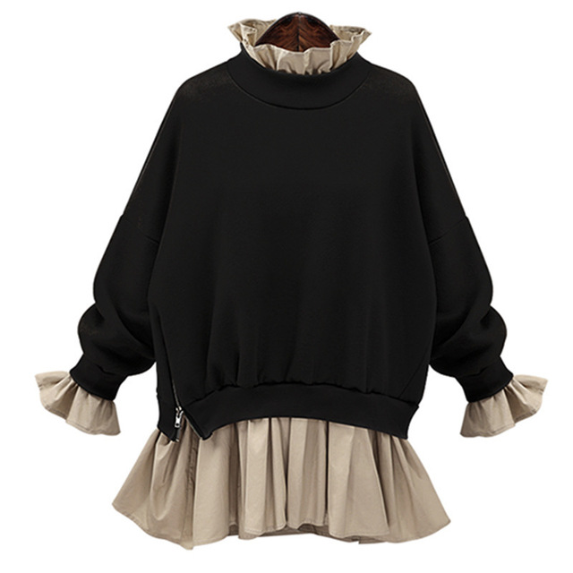 [Soonyour] 2017 primavera novo produto divisão conjunta fácil sweatshi zipper manga comprida moda pullover solta fêmea durante toda a partida my2201