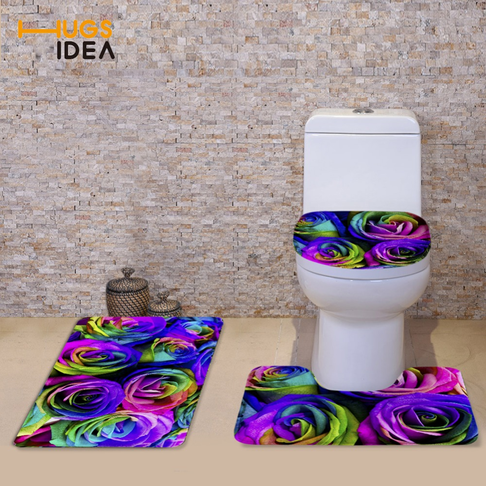 HUGSIDEA 3 PCS Rəngarəng çiçəkli vanna otağı tualet kreslosu - Ev əşyaları - Fotoqrafiya 4
