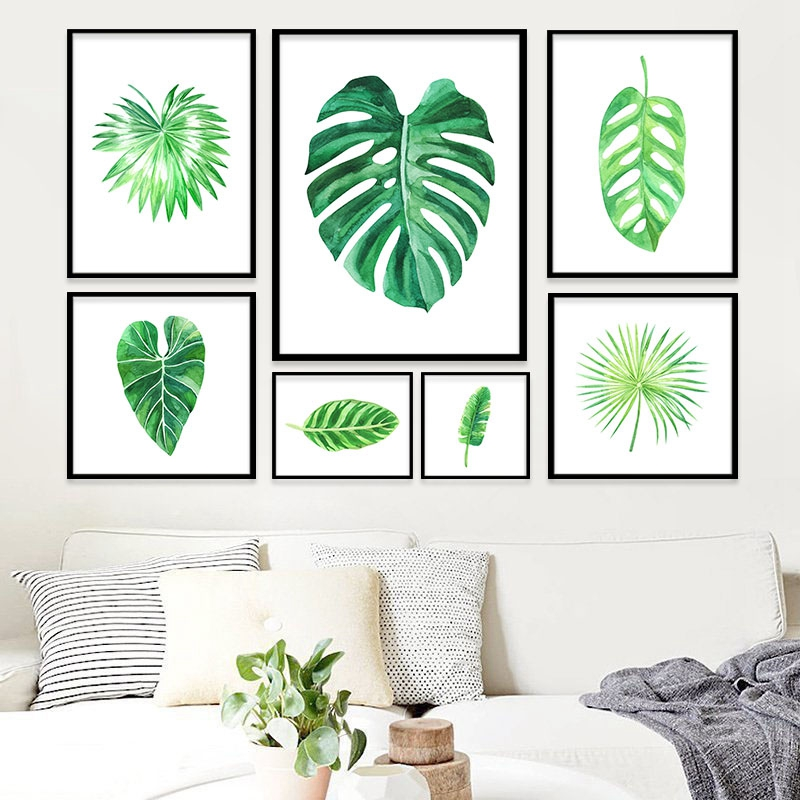 Aliexpress Buy Watercolor Green Tropical Plant