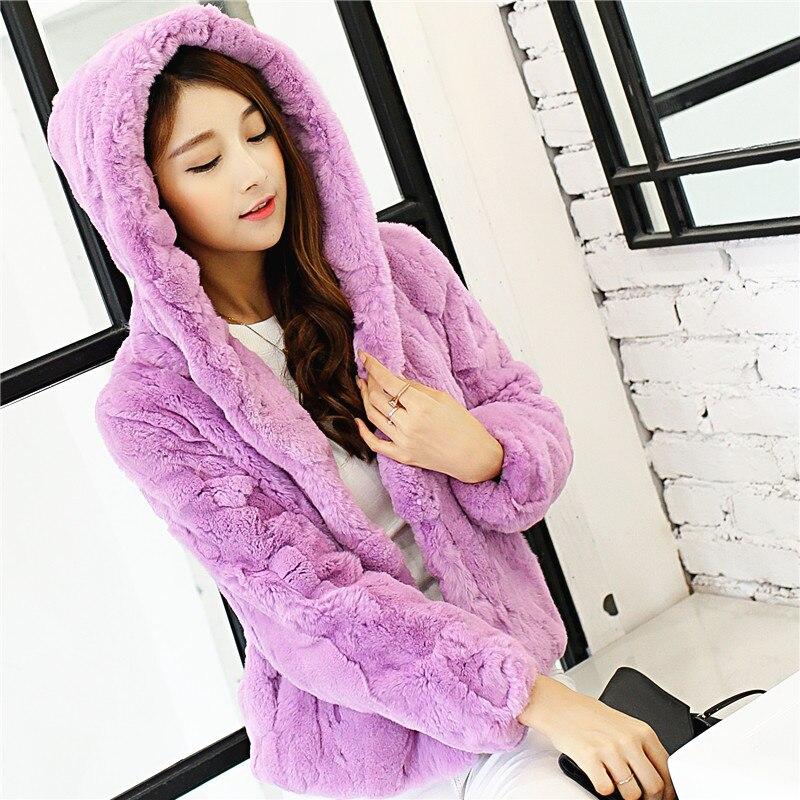 Genuine rex rabbit fur winter coat outwerwear women short design 9/10 sleeve real fur coats with hood 2018 autumn free shipping