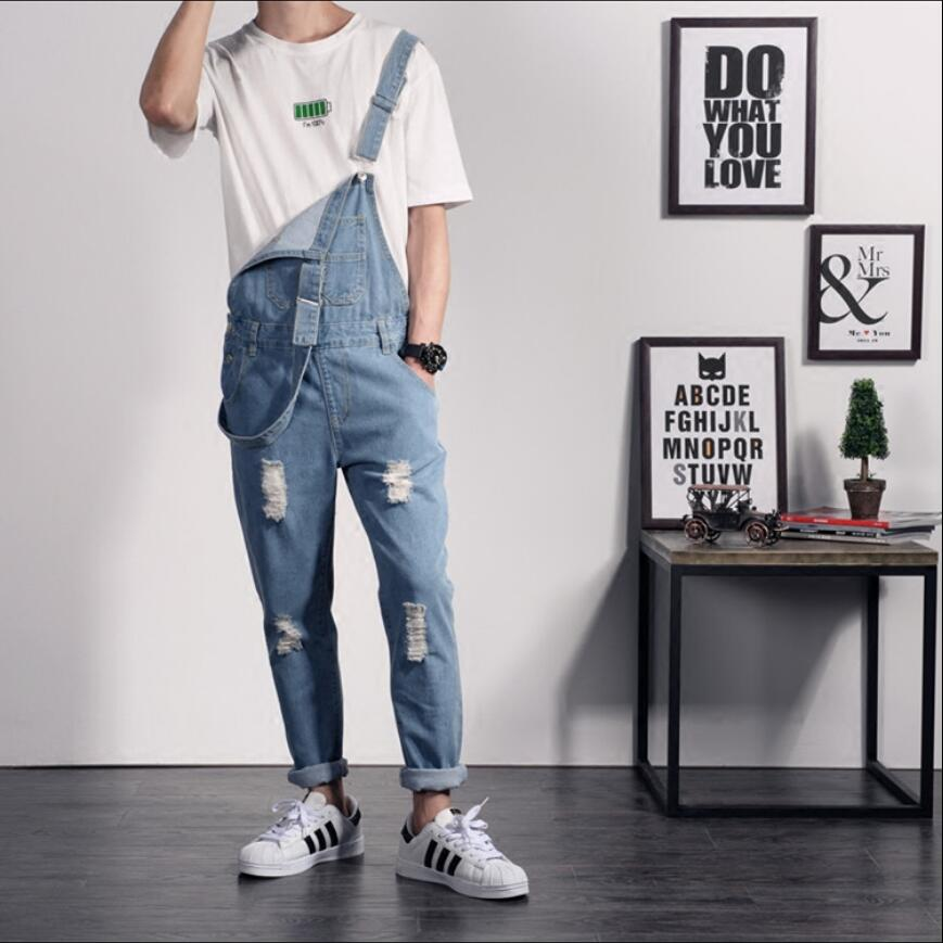 Men's Clothing Buy Cheap Europe And The United States Trend Denim Jumpsuit Pants Mens Slim Korean Version Of Hole Denim Pants Suspenders Jeans