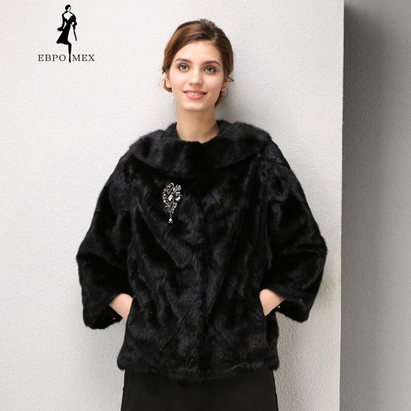 D'hiver Court Réel O Cuir De Vison Poitrine Palais La White Fleurs En Sur Femmes black Manteau Décoratif Mode cou Fourrure gqaCwwd