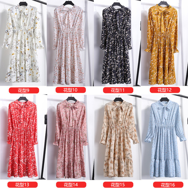 29 Colors Beautiful Fashion Spring Autumn New Women Long Sleeved Dress Retro Collar Casual Slim Dresses Floral Printing Chiffon 4