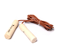 High-grade solid wood handle cowhide jump rope Professional quality goods bearing