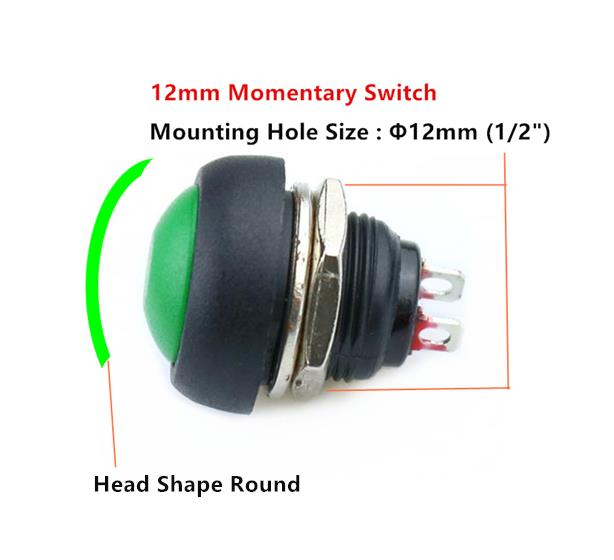 2Pcs Blue 12mm Waterproof Momentary ON//OFF Push Button Mini Round Switch