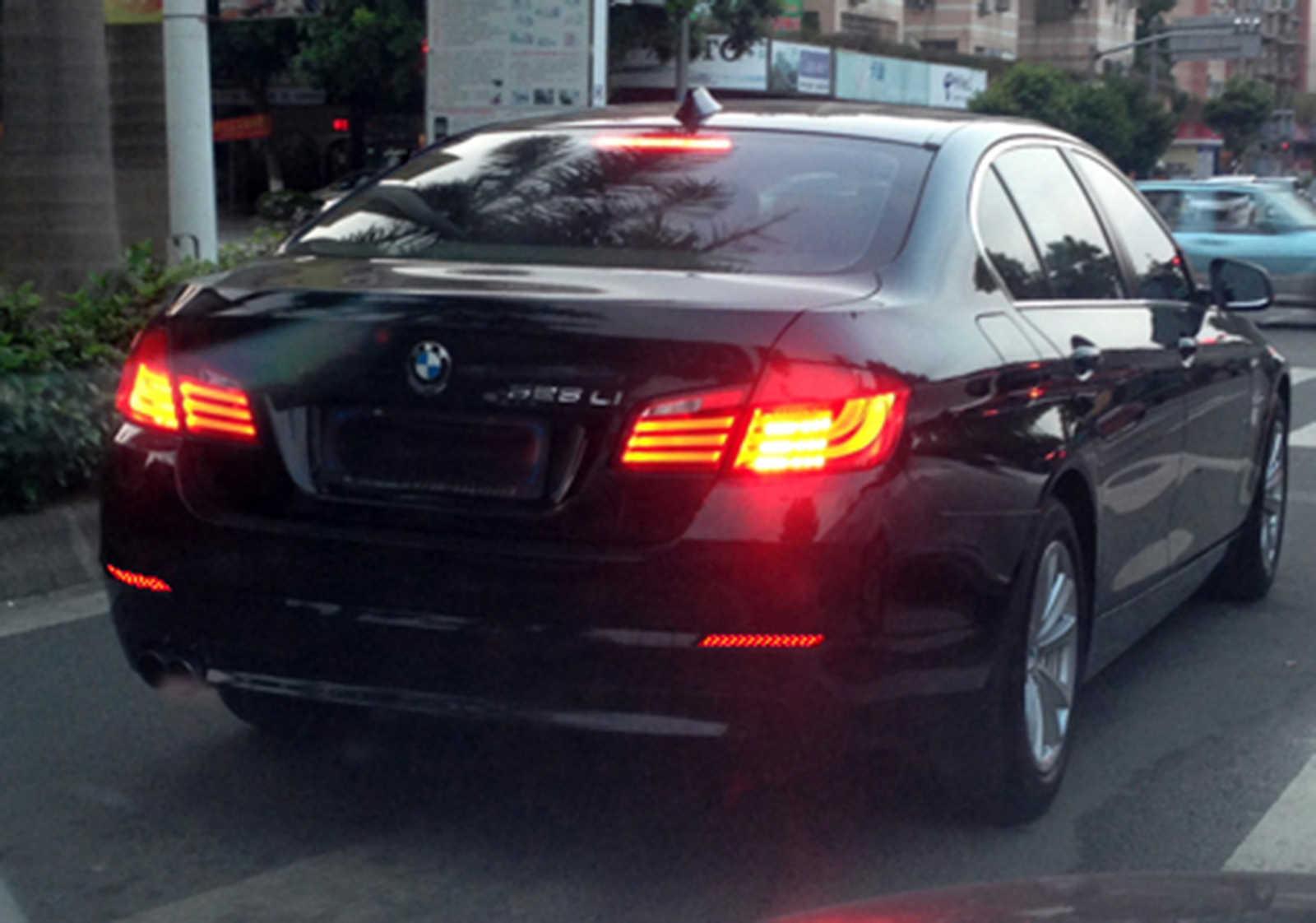Angrong 2X Sau Ốp Lưng Đèn LED Phanh Dừng Sáng Đen Ống Kính Cho Xe BMW Series 5 F10 F11 F18
