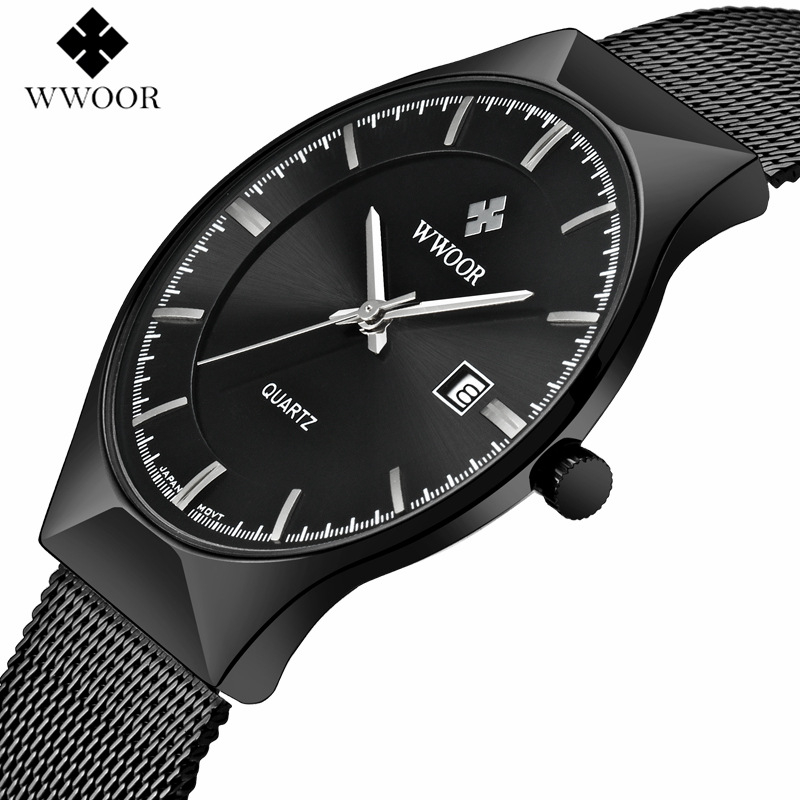 WWOOR Men Watches Top Brand Luxury Black Dial Ultra Thin Date Clock Male Steel Strap Casual Quartz Watch Mens Sports Wrist Watch 2017 luxury brand binger date genuine steel strap waterproof casual quartz watches men sports wrist watch male luminous clock