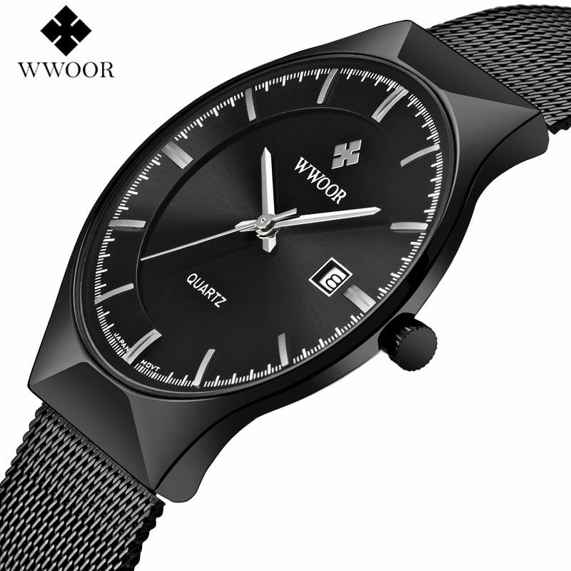 WWOOR hommes montres Top marque de luxe cadran noir Ultra mince Date horloge mâle bracelet en acier montre à quartz décontractée hommes sport montre-bracelet