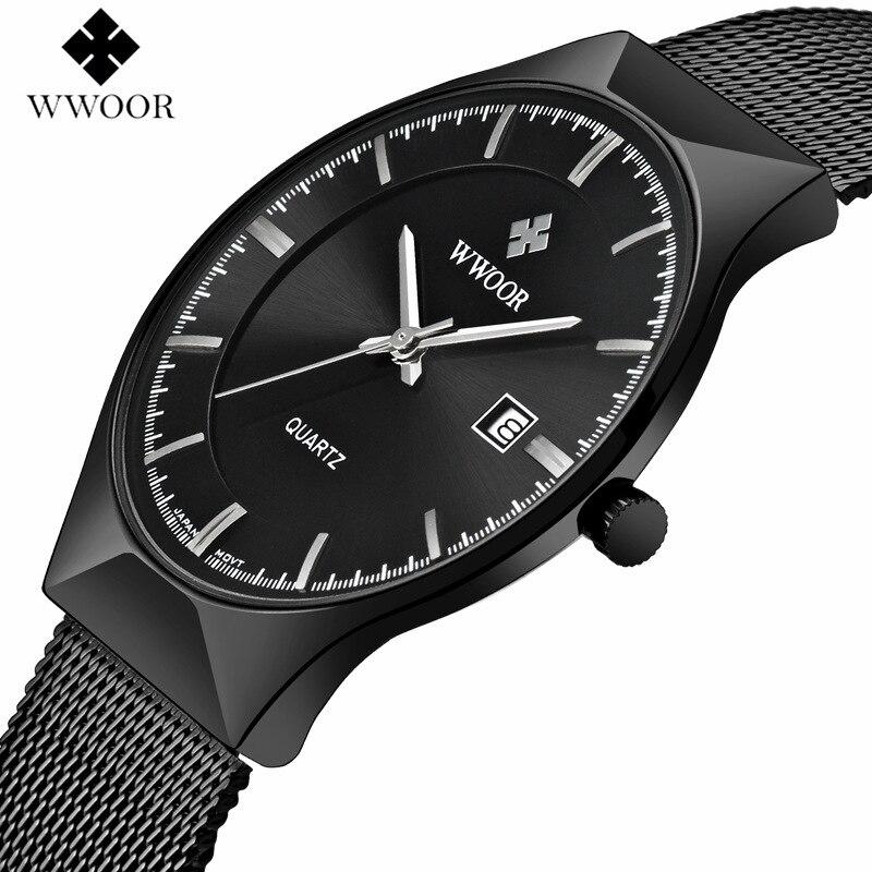 Wwoor Для мужчин Часы лучший бренд класса люкс черный циферблат ультра тонкий Дата часы мужской Сталь ремень Повседневное кварцевые часы Для