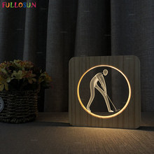 3D Wooden Lamp Warm White LED Night Light Golf Model as Bedside Baby Christmas Gift