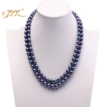 """JYX Natürliche Perle Halskette Doppel-reihe 8mm Dunkelblau Kultivierten Süßwasser Perle Halskette 18"""""""