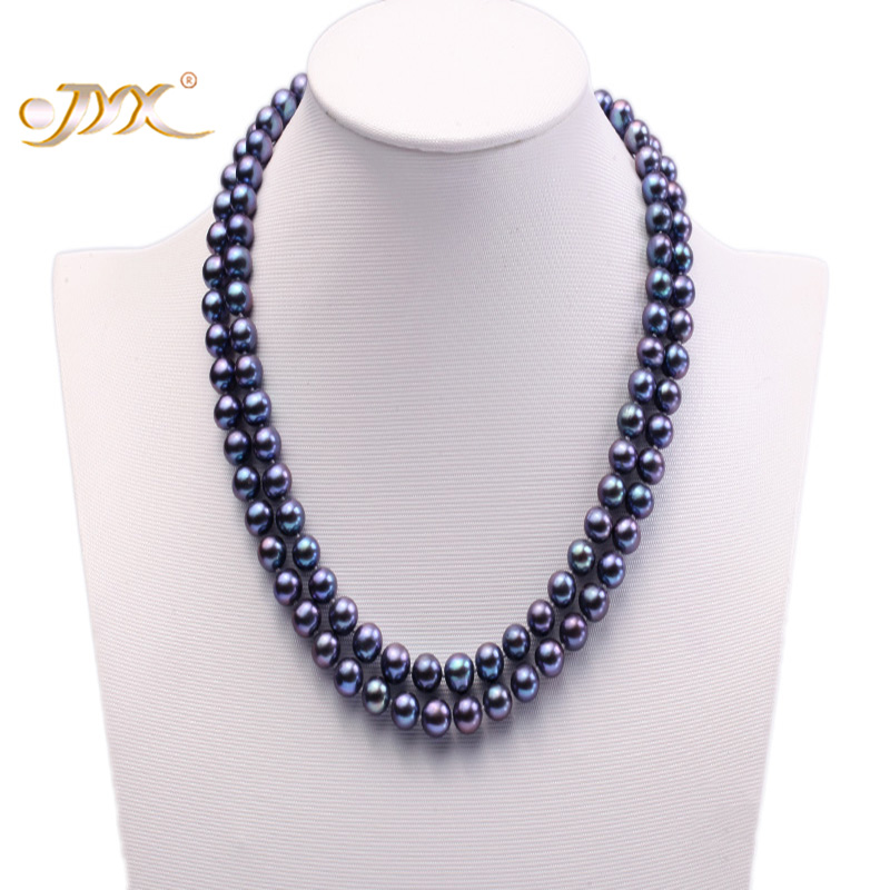 JYX Natural Pearl Necklace Double-row 8mm Dark Blue Cultured Freshwater Pearl Necklace 18