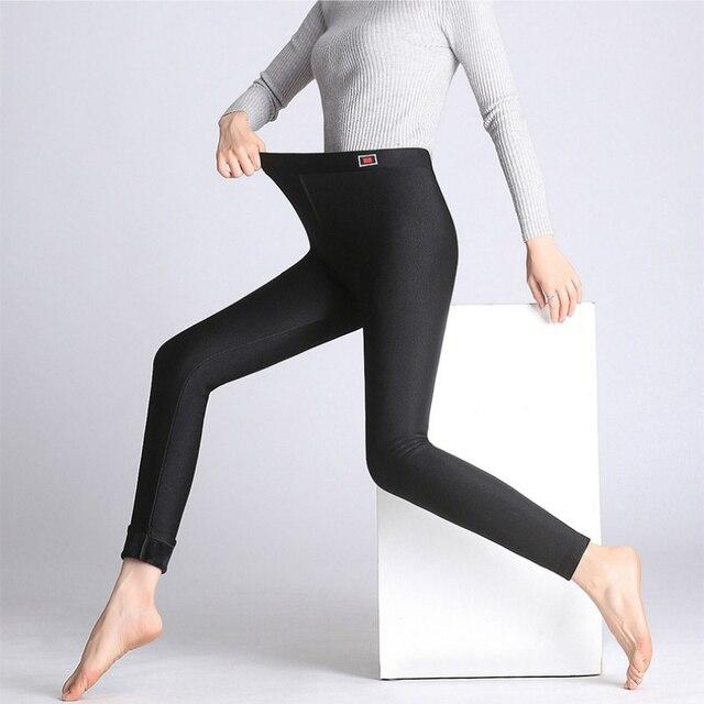 695cc7418e8b2 Fashion Autumn Spring Winter Thick Sheen Warm Lustrous Leggings  Ankle-Length Pants High Elastic Thermal Pants Stretch Pants