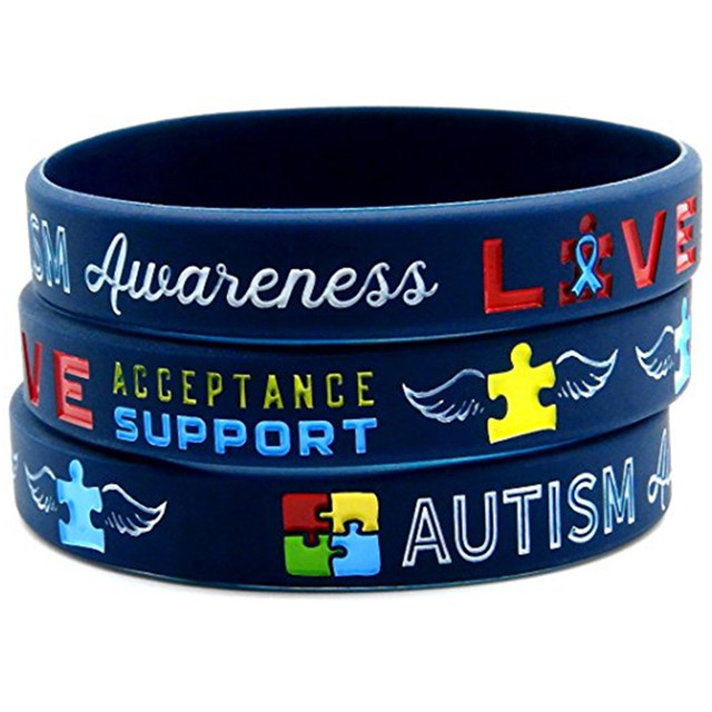 1pc Medical Alert Autism Awareness Rainbow Silicone Rubber Bracelet Wristband Shipping