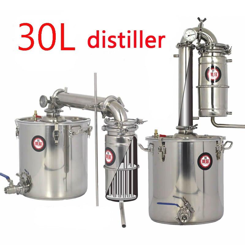 30L capacité distillateur d'eau en acier Inoxydable alcool Vin brassage machine équipement D'alcool Vodka distillateur D'alcool pot/chaudières