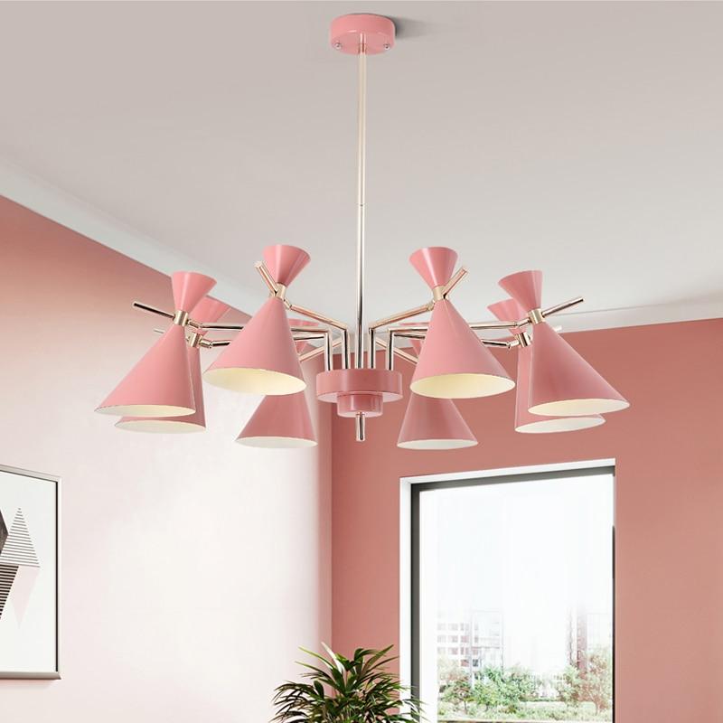 Nordic Chandelier Light Fixture Pink Crystal Lighting Living Room ...