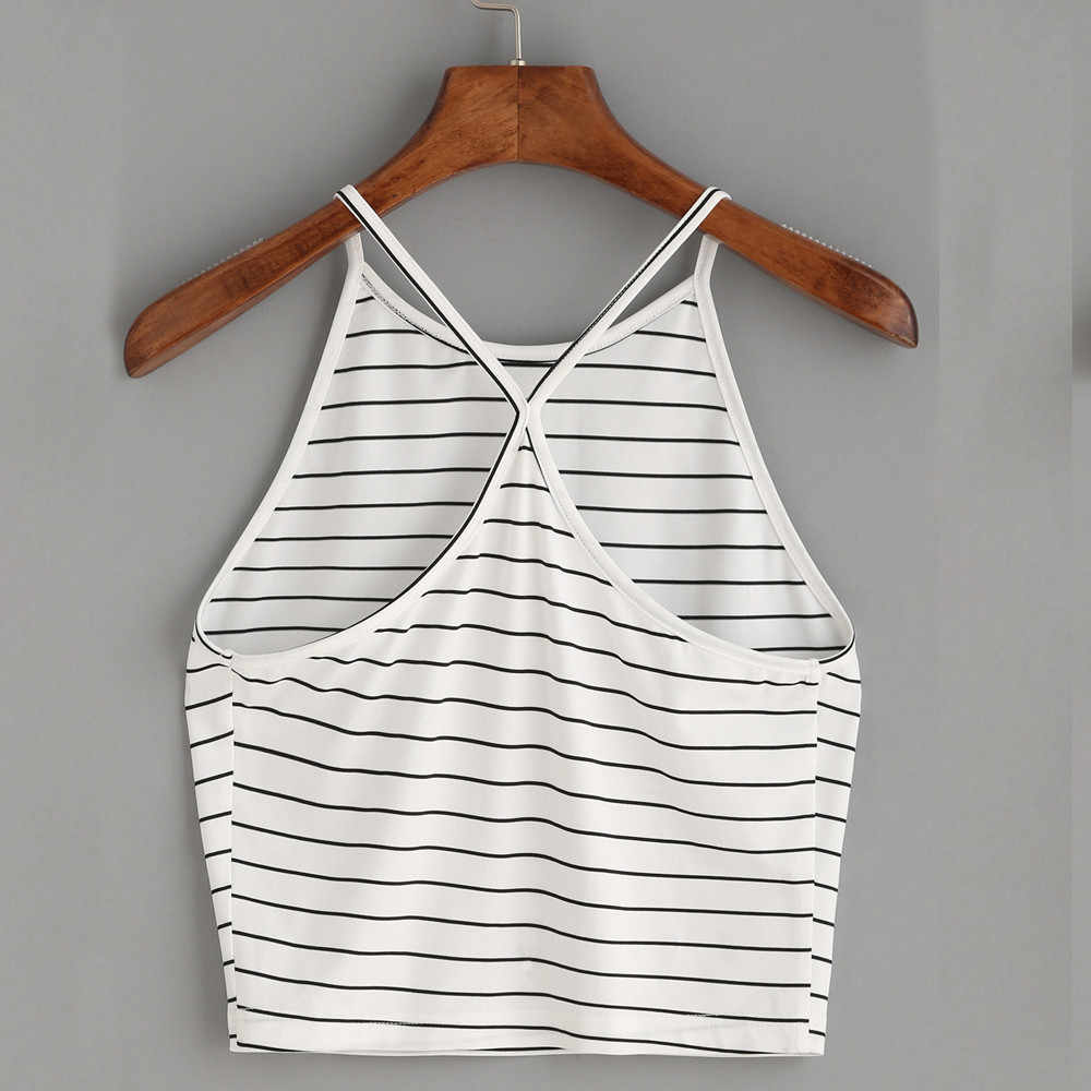 Zomer Mode Vrouwen Dames Gestreepte Katoen Cami Sexy Tops Hemdje Sexy Vest Crop Top T-Shirt Tank Vest Zomer Mode Kleding